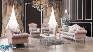 Model Sofa Ruang Tamu Modern Mewah Pink Cover Italian Style