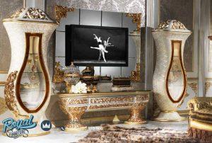 Set Bufet Tv Mewah Klasik Lemari Hias Biola Ukiran Jepara