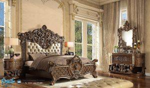 Set Tempat Tidur Mewah Klasik Eropa Antique Gold Duco