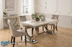 Set Kursi Meja Makan Minimalis Modern Terbaru With Table Stenlis Top Marmer