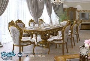 Meja Makan Klasik Mewah Ukir Jepara Terbaru Barrock Eropa