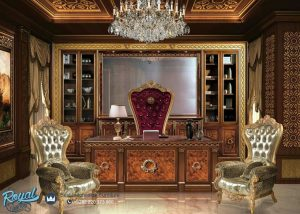 Desain Meja Kantor Kayu Jati Mewah Ukir Klasik Jepara Princes