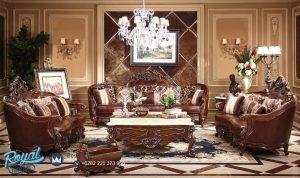 Kursi Sofa Tamu Jati Ukir Jepara Kulit Mewah Klasik Rafael