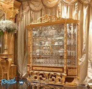 Lemari Hias Ukir Klasik Mewah Gold Eropa Style Terbaru
