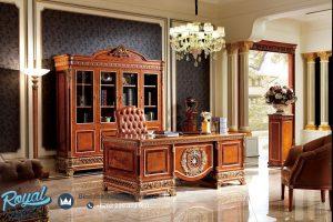 Meja Kantor Direktur Klasik Mewah Ukiran Jepara American Style