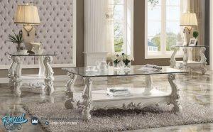 Meja Tamu Coffe Table Modern Putih Ukiran Jepara Versailles