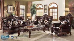 Sofa Tamu Jati Ukir Klasik Mewah Leather Top Granit Emperador