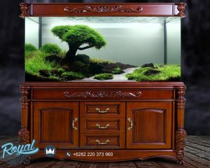 Cabinet Aquarium Ikan Arwana Kayu Jati Ukir Klasik Antique