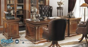 Desain Meja Office Direktur Minimalis Luxury Classic Kayu Jati