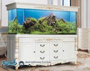 Meja Aquarium Ikan Hias Warna Putih Duco Ukir Kayu Jepara Terbaru