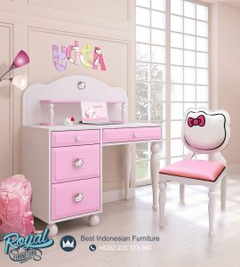 Meja Belajar Anak Kayu Karakter Hello Kitty Terbaru