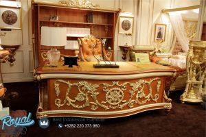 Meja Office Kantor Direktur Kayu Ukir Klasik Mewah Raffles