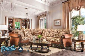 Sofa Leter L Ruang Keluarga Jati Ukiran Jepara