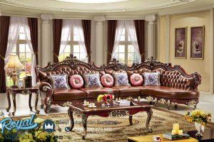 Sofa Ruang Keluarga Klasik Ukir Jepara Leather Brown