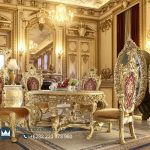 Jual Meja Makan Mewah Jepara Bulat Victorian Gold