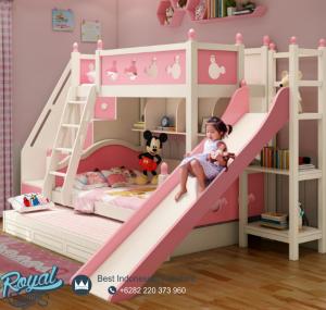 Model Tempat Tidur Anak Mickey Mouse Pink Ada Perosotan
