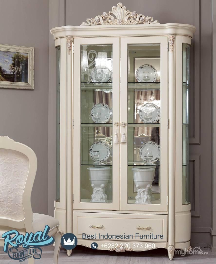 Lemari Kaca Hias Simple Desain Duco White Terbaru | Royal ...
