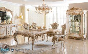 Meja Makan Jepara Mewah Terbaru Ukir Warna Putih Turki Style