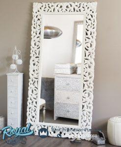 Bingkai Cermin Ukiran Jepara Putih Elegance
