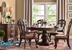 Meja Makan Klasik Bulat Solid Kayu Jati Extendable